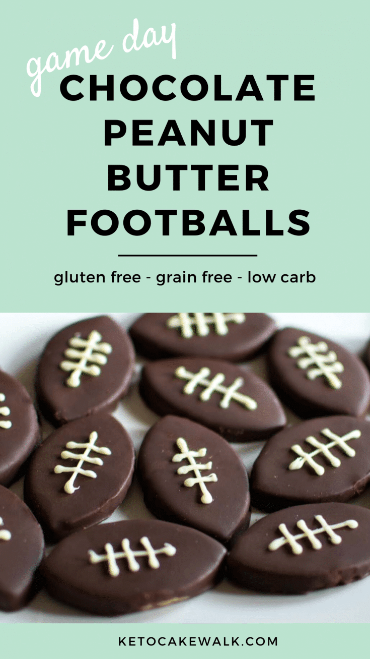 These healthy chocolate peanut butter footballs are packed with protein but taste like dessert! Perfect to serve on game day! #lowcarb #keto #protein #glutenfree #grainfree #football #snacks #party #superbowl
