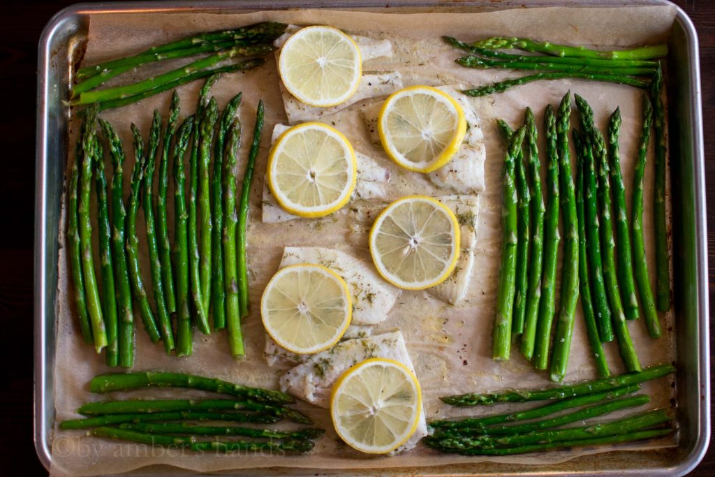 Lemony Fish And Asparagus Sheet Pan -keto cake walk-