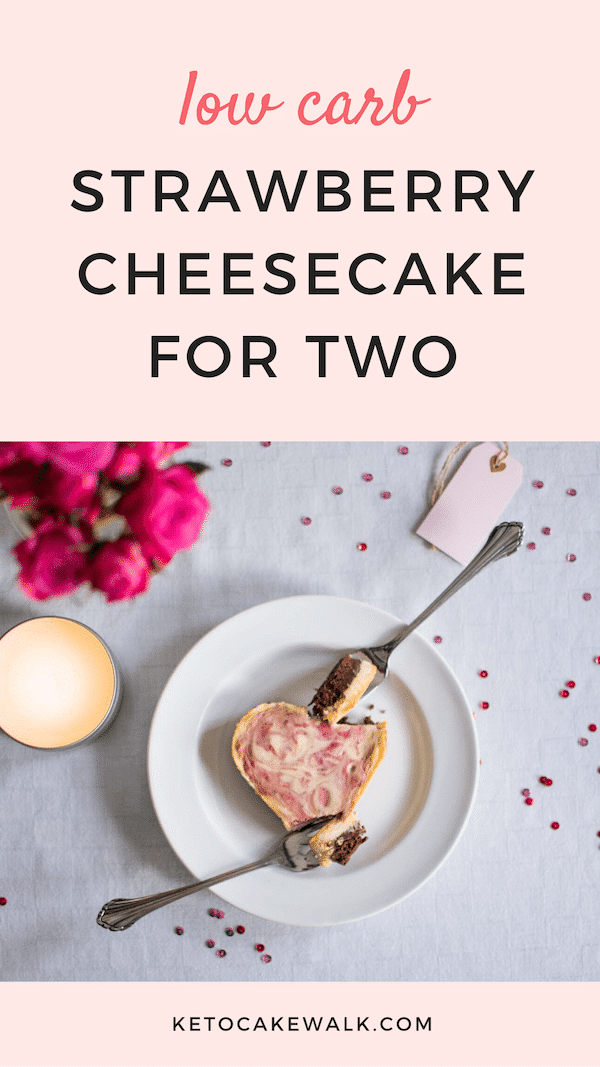 Adorable mini strawberry cheesecakes to celebrate with the one you love! Low carb love! #lowcarb #keto #strawberry #cheesecake #love #valentines #dessert #glutenfree #grainfree