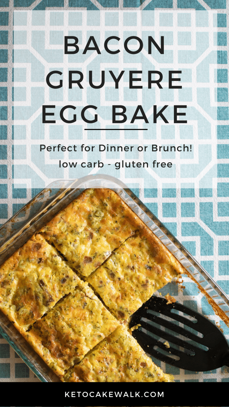 This bacon gruyere egg bake is one of the easiest things you'll ever make and it's SO GOOD! Perfect for brunch or a weeknight dinner and super low carb! #lowcarb #keto #breakfast #brunch #easy #bacongruyere #eggbake #simple #glutenfree #grainfree