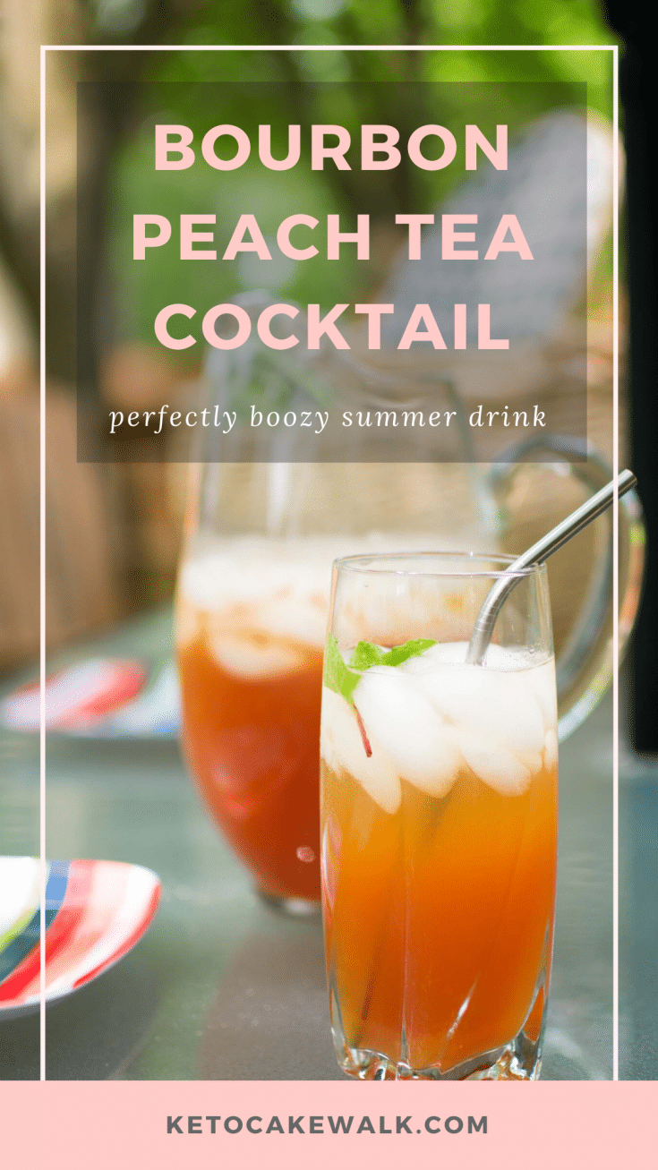 An easy, low carb boozy cocktail made with bourbon and peach tea is the perfect drink for sipping out on your patio! #lowcarb #keto #cocktail #bourbon #peach #tea #sugarfree