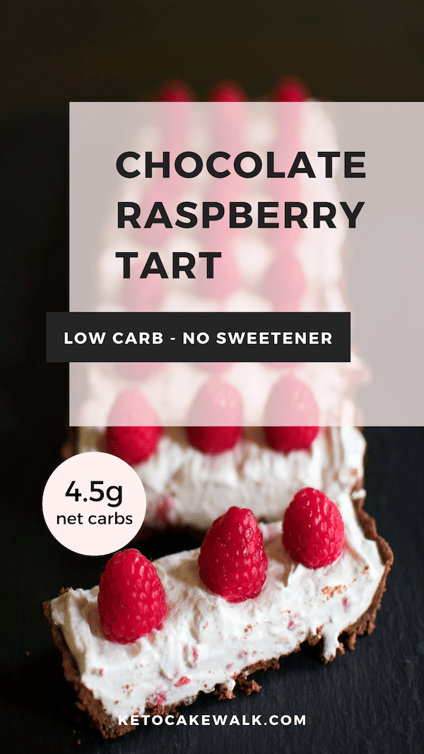 This low carb raspberry tart has a dark chocolate crust and is filled with a creamy mascarpone filling. Sweetened only by raspberries and dark chocolate! #lowcarb #keto #healthy #dessert #raspberry #chocolate #tart #sweets #treats #nosweetener #glutenfree #grainfree