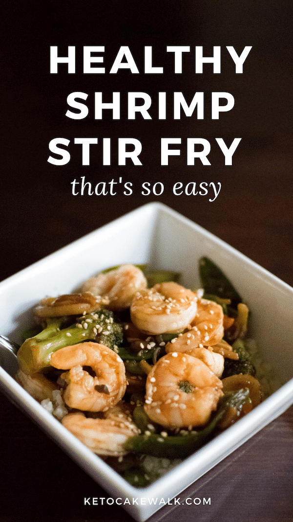 A quick and easy keto shrimp stir fry to make your weeknights easier! #lowcarb #keto #stirfry #shrimp #vegetables #easy #weeknight #dinner #glutenfree #grainfree