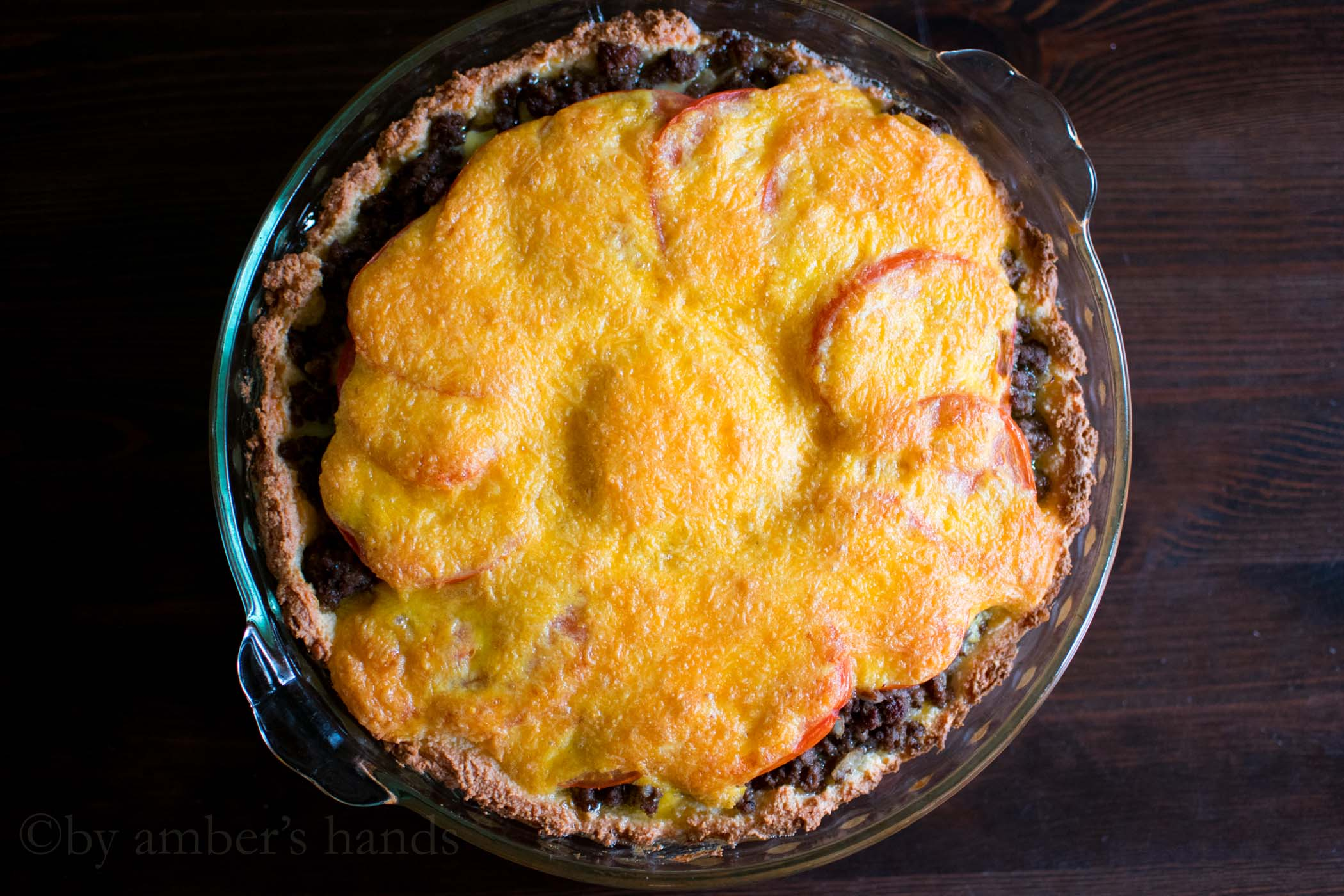 Cheeseburger pie after baking