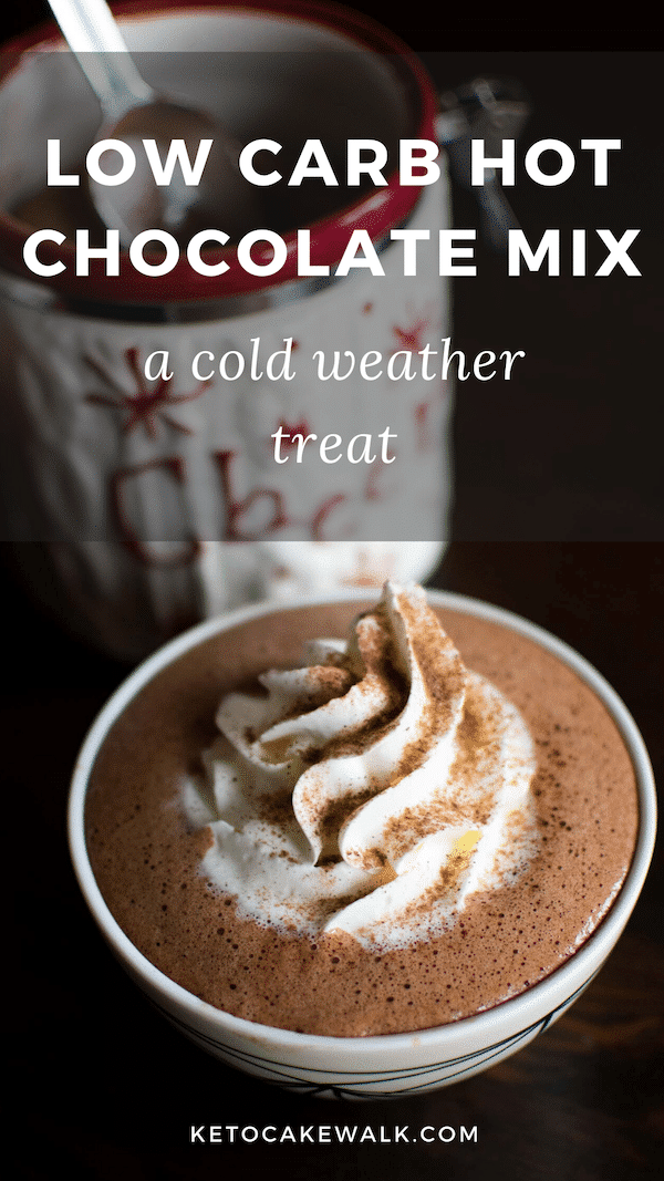 Get your indulgence on with this low carb hot chocolate mix that you can make ahead and have at the ready any time the mood strikes! #keto #lowcarb #hotchocolate #hotcocoa #mix #treats #drinks