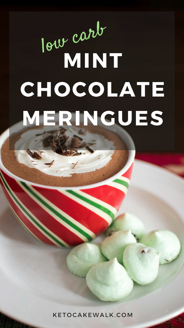 These low carb mint meringues have the perfect crisp texture and are studded with flecks of dark chocolate. #keto #lowcarb #cookies #christmas #meringues #mint #chocolate #glutenfree #grainfree #sugarfree