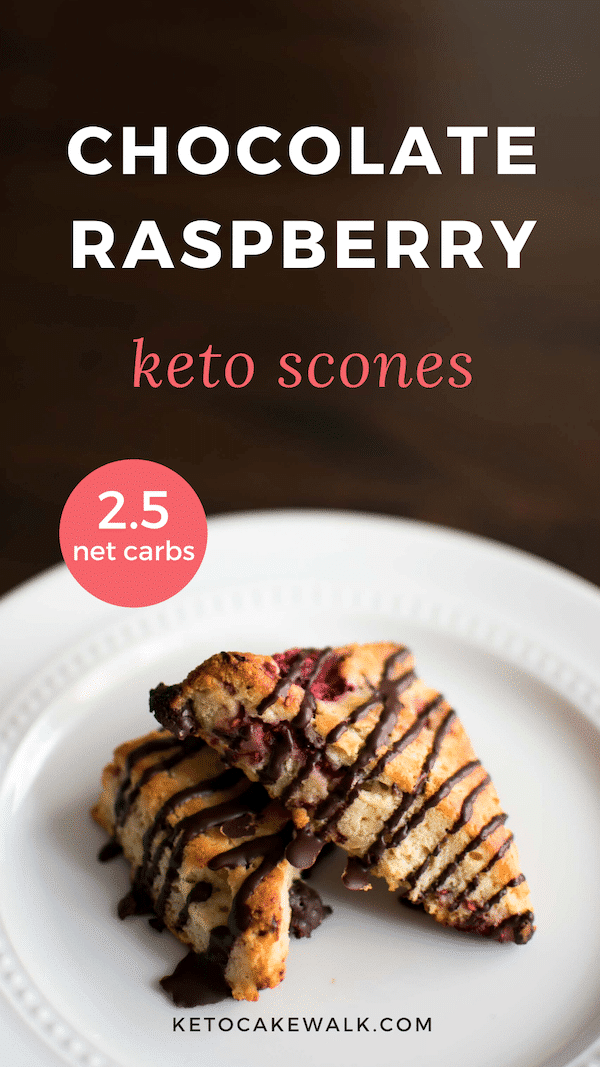 Keto Chocolate Raspberry Scones are super easy and only 2.5g net carbs each! Low carb breakfast at the ready! #keto #lowcarb #scones #chocolate #raspberry #breakfast #glutenfree #grainfree