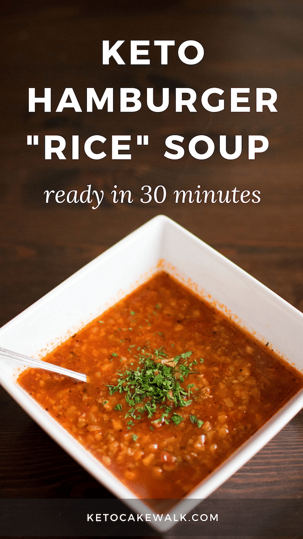 "This easy hamburger ""rice"" soup is low in carbs but high in flavor and is ready in only 30 minutes! So easy and almost no prep!"