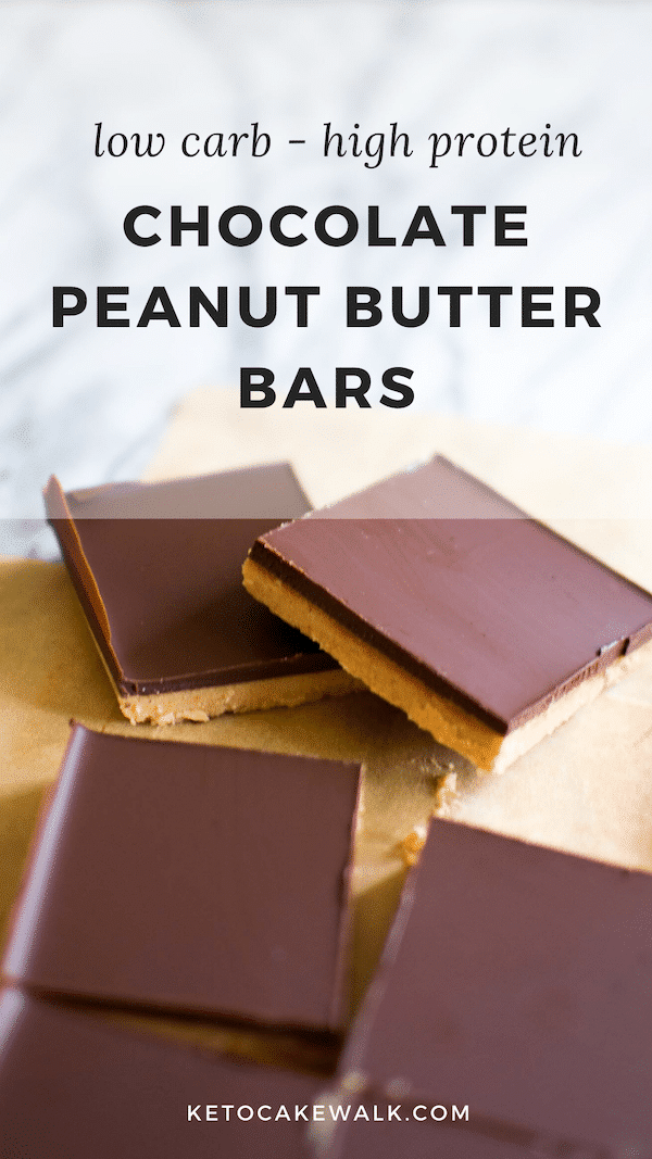 These no-bake chocolate peanut butter bars are packed with protein and healthy fats, are low carb and gluten free and come together in 15 minutes! #lowcarb #keto #glutenfree #grainfree #chocolate #peanutbutter #protein #dessert #snack