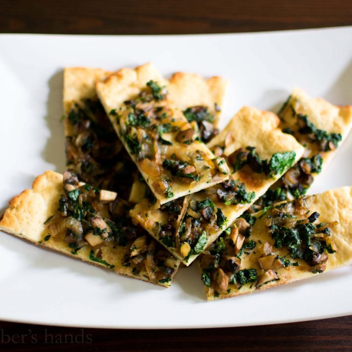 Caramelized Onion, Mushroom, and Spinach Flatbread