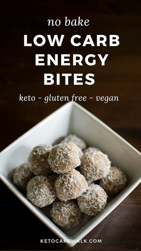 These low carb energy bites are the perfect grab-and-go snack for when you can't get a full meal. They make a great healthy after school snack for kids, too! #keto #lowcarb #energybites #glutenfree #dairyfree #vegan #grainfree #snacks