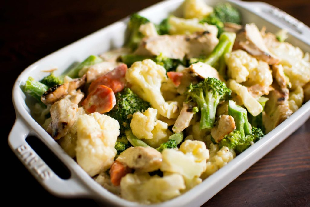 Chicken and Veggie Alfredo - Easy Keto Dinners for the Whole Family -keto cake walk-