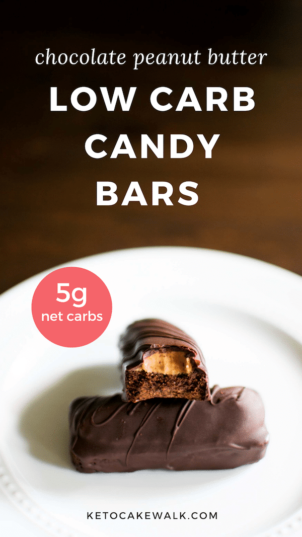 These low carb candy bars are a chocolate shortbread cookie layered with peanut butter and coated in dark chocolate! Only 5 net carbs each. #keto #lowcarb #candybars #glutenfree #grainfree #chocolate #peanutbutter
