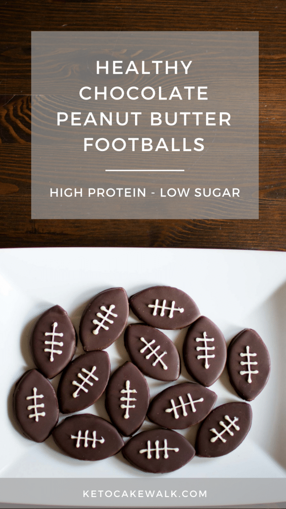 These adorable chocolate peanut butter footballs are totally healthy but you'd never know! Packed with protein but they taste like dessert! #partyfood #football #lowcarb #keto #glutenfree #grainfree #superbowl #snacks