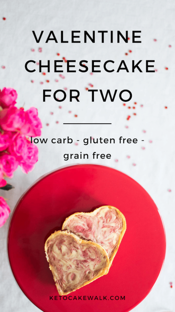 Make these adorable cheesecakes to celebrate Valentine's Day with your favorite human all while keeping the carbs low! #lowcarb #keto #glutenfree #grainfree #strawberry #cheesecake #valentines