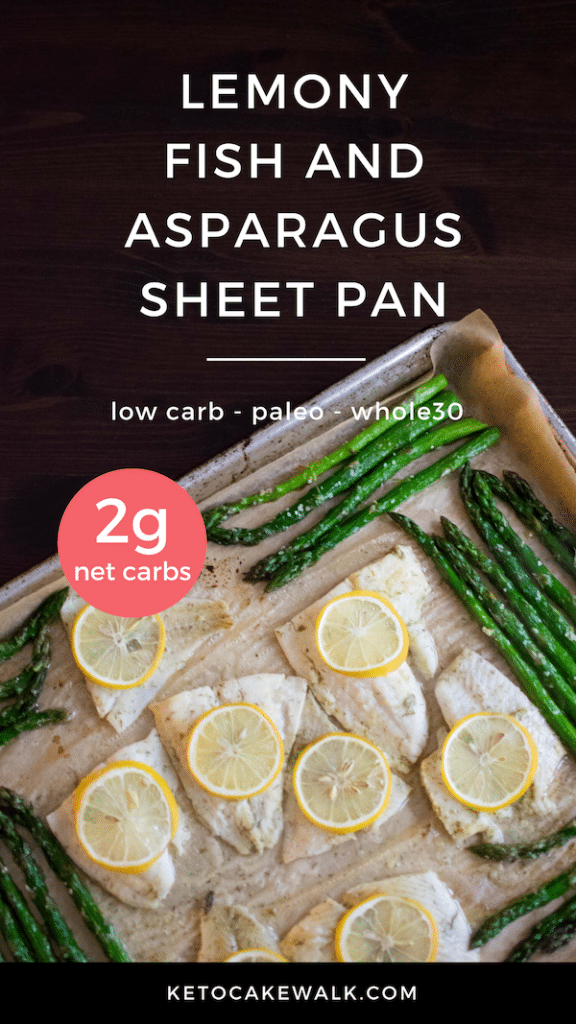 Super easy weeknight meal! Bakes in only 10 minutes and only has 2g net carbs per serving! #lemon #fish #asparagus #sheetpan #dinner #lowcarb #keto #glutenfree #grainfree #paleo