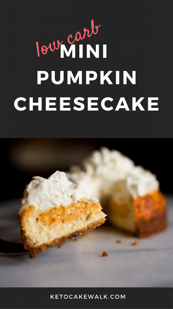 Decadent pumpkin cheesecake that you'd never know is low carb! Mini sized makes it perfect to bring along to family holidays! #keto #lowcarb #cheesecake #pumpkin #holiday #glutenfree #grainfree