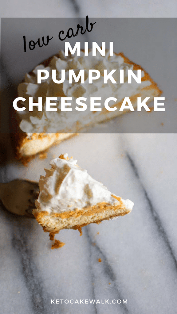 This low carb mini pumpkin cheesecake is good for 1 or 2 and is the perfect dessert for your holiday table! #keto #lowcarb #cheesecake #pumpkin #holiday #glutenfree #grainfree