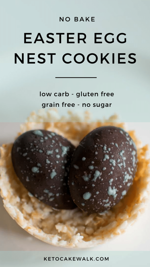 These super easy no bake easter nest cookies take almost no time and are healthy treats for the whole family! #nobake #lowcarb #keto #easter #cookies #candy #treats #glutenfree #grainfree