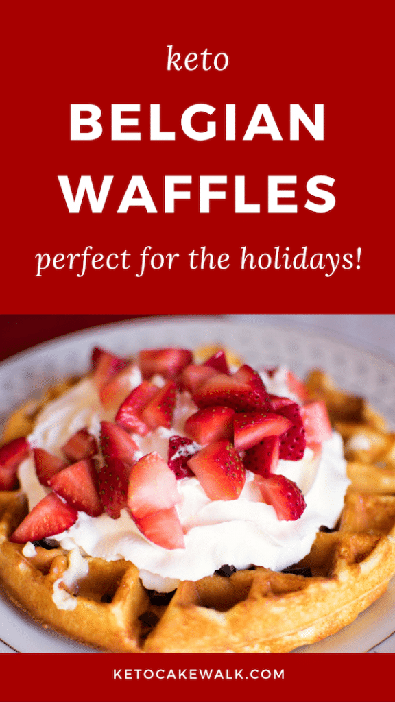 These keto Belgian waffles are crisp on the outside and fluffy on the inside. They're perfect for Christmas breakfast! #lowcarb #keto #glutenfree #waffles #breakfast #holidays