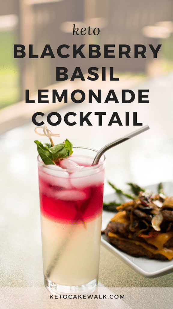 A low carb blackberry basil lemonade cocktail that's perfect for sipping on the patio all summer long! So easy to make and just so good! #keto #lowcarb #cocktail #summer #drinks #blackberry #basil #lemonade #sugarfree