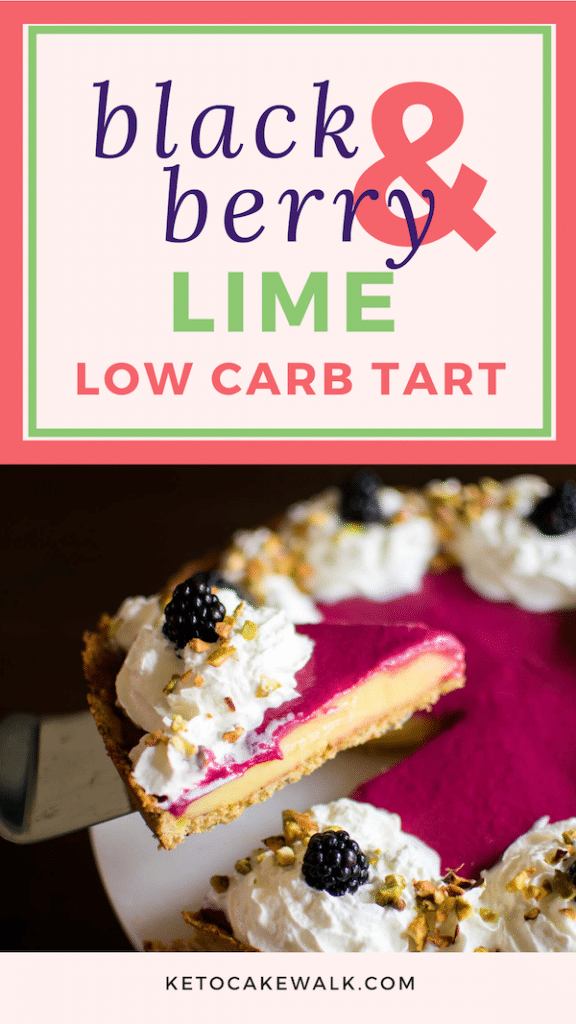 With a crunchy pistachio crust, this Low Carb Blackberry Lime Tart is bursting with all the best flavors of spring! Perfect for Easter, Mother's Day, or any time! #lowcarb #keto #easter #mothersday #spring #tart #glutenfree #grainfree #atkins #blackberry #lime