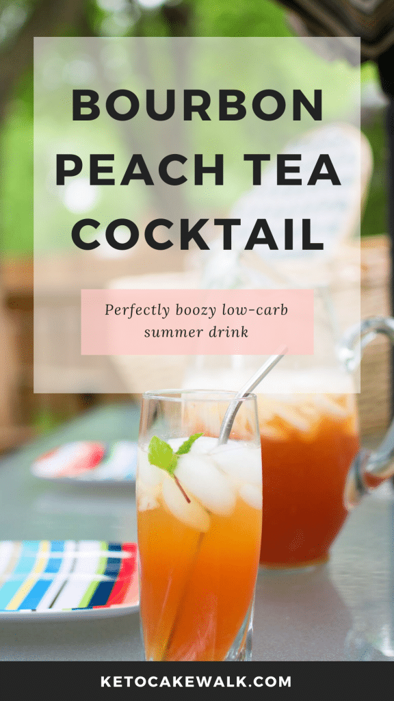 This bourbon peach tea cocktail is the low carb summer drink of your dreams! So easy to make, you'll be sipping it out on your deck in no time flat! #keto #lowcarb #cocktail #bourbon #peach #tea #sugarfree