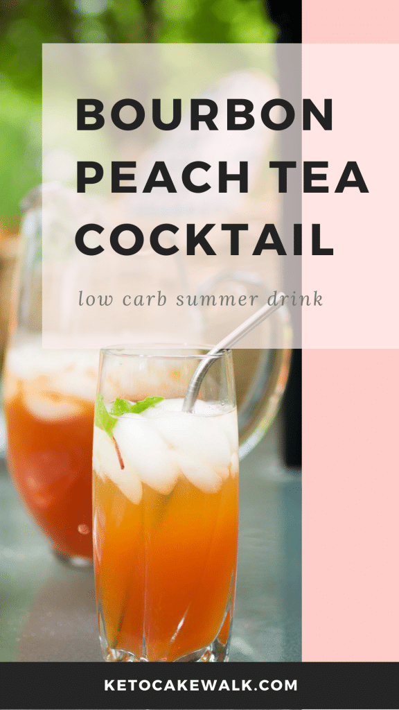 This boozy low carb summer cocktail will have you enjoying your summer afternoons outside even more! Made with bourbon and peach tea, this cocktail keeps the carbs low! #keto #lowcarb #cocktail #bourbon #peach #tea #sugarfree