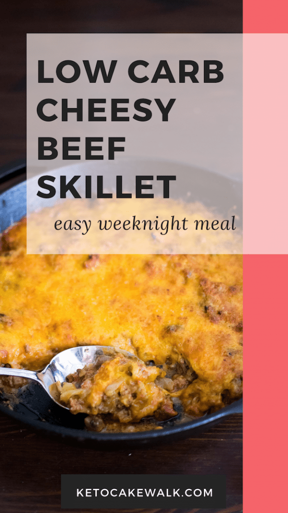 This low carb cheesy beef skillet comes together quickly and simply. One of grandma's recipes turned low carb! #lowcarb #keto #skillet #dinner #easy #beef #cheese #cabbage #comfortfood #glutenfree #grainfree