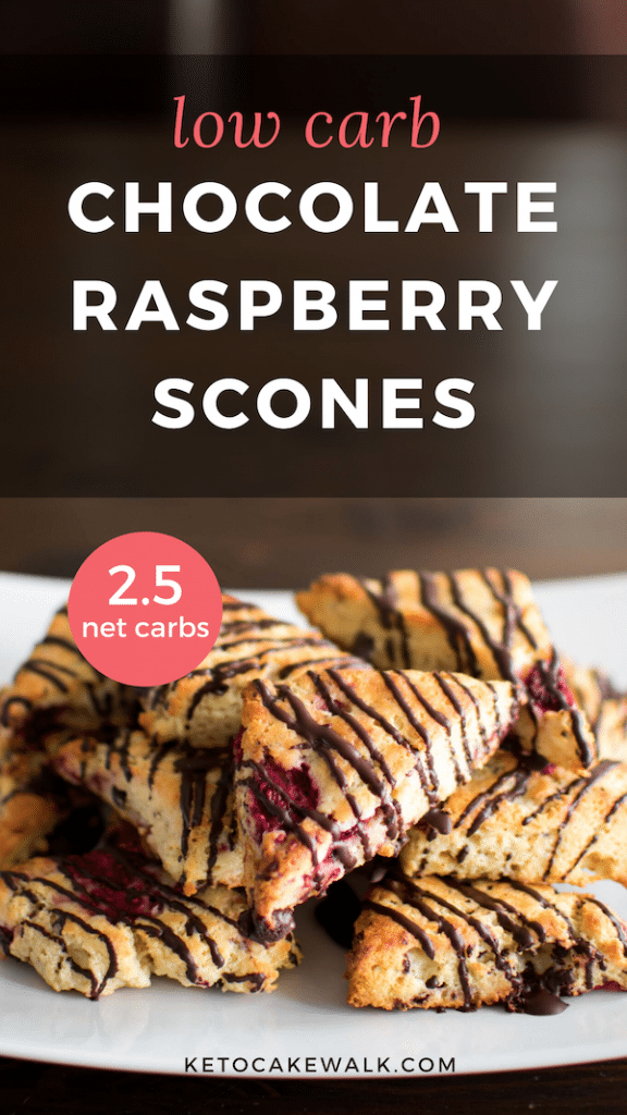 Keto Chocolate Raspberry Scones are a perfect addition to your low carb breakfast rotation! #lowcarb #keto #breakfast #brunch #glutenfree #grainfree #raspberry #chocolate