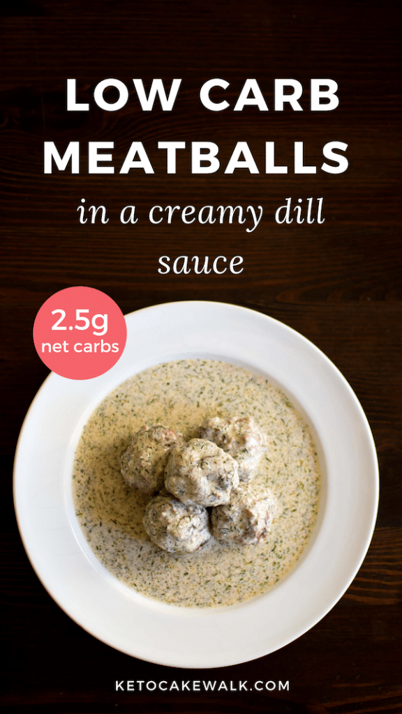 Super easy low carb meatballs done in 30 minutes! #keto #lowcarb #dinner #easy #meatballs #dill #creamsauce #glutenfree #grainfree