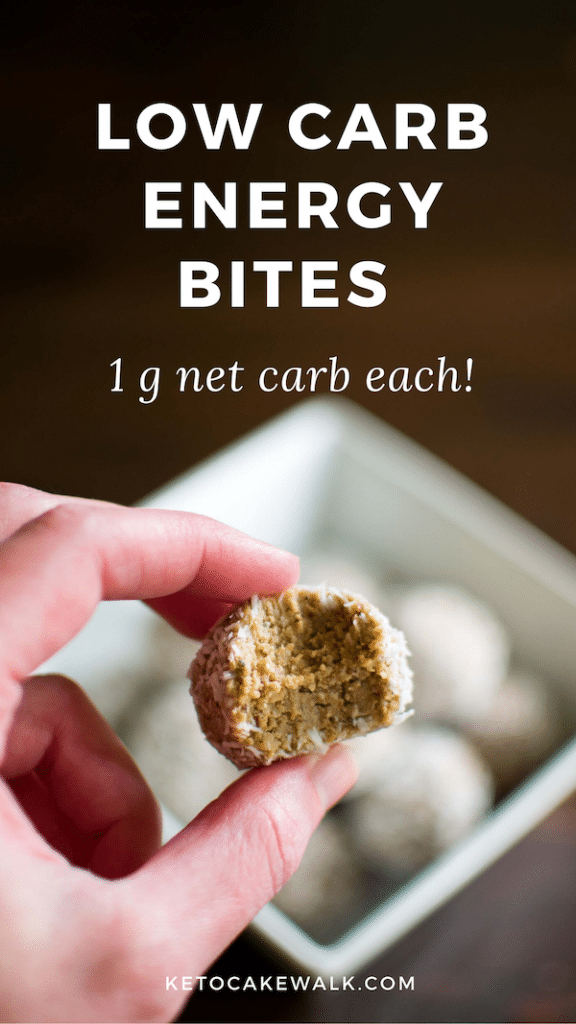 These low carb energy bites are the perfect grab-and-go snack for when you can't get a full meal. Only 1 carb each!! They make a great healthy after school snack for kids, too! #keto #lowcarb #energybites #glutenfree #dairyfree #vegan #grainfree #snacks