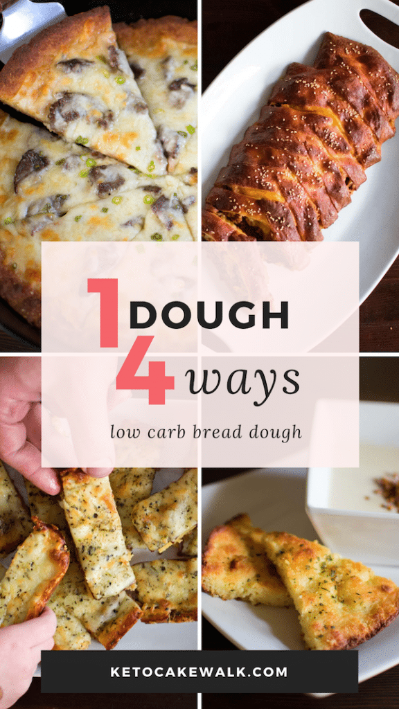 This low carb bread dough can be used in SO many ways and tastes amazing! Use it in pizza, calzones, cheesy bread, foccacia, bagel dogs, and more! #lowcarb #keto #bread #pizza #cheesebread #stromboli #calzone #foccacia