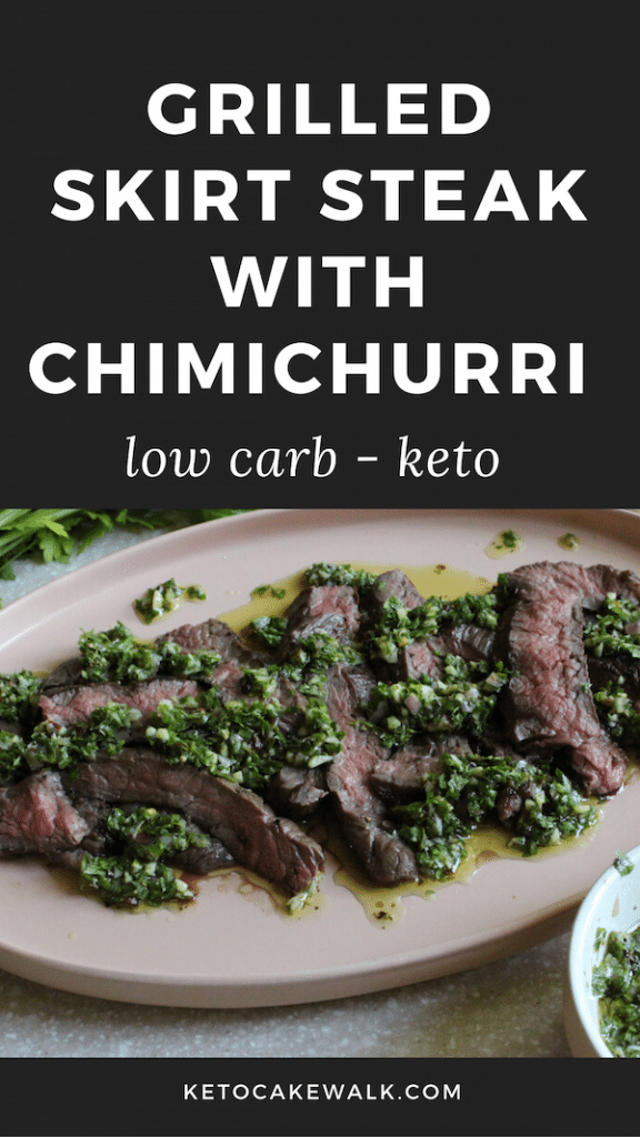 This grilled skirt steak with chimichurri is the perfect low carb summer meal! Learn all the tips and tricks to grilling a perfect steak. #keto #lowcarb #grilling #skirtsteak #chimichurri #glutenfree #grainfree #dinner