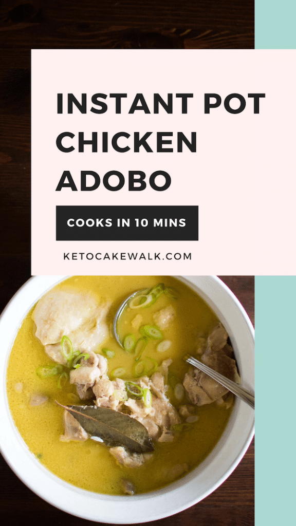 This Filipino Chicken Adobo cooks in the instant pot in only 10 minutes using a bag of frozen chicken! Freezer to table in 30 minutes. #easy #chicken #instantpot #lowcarb #keto #dinner #filipinofood #glutenfree #grainfree