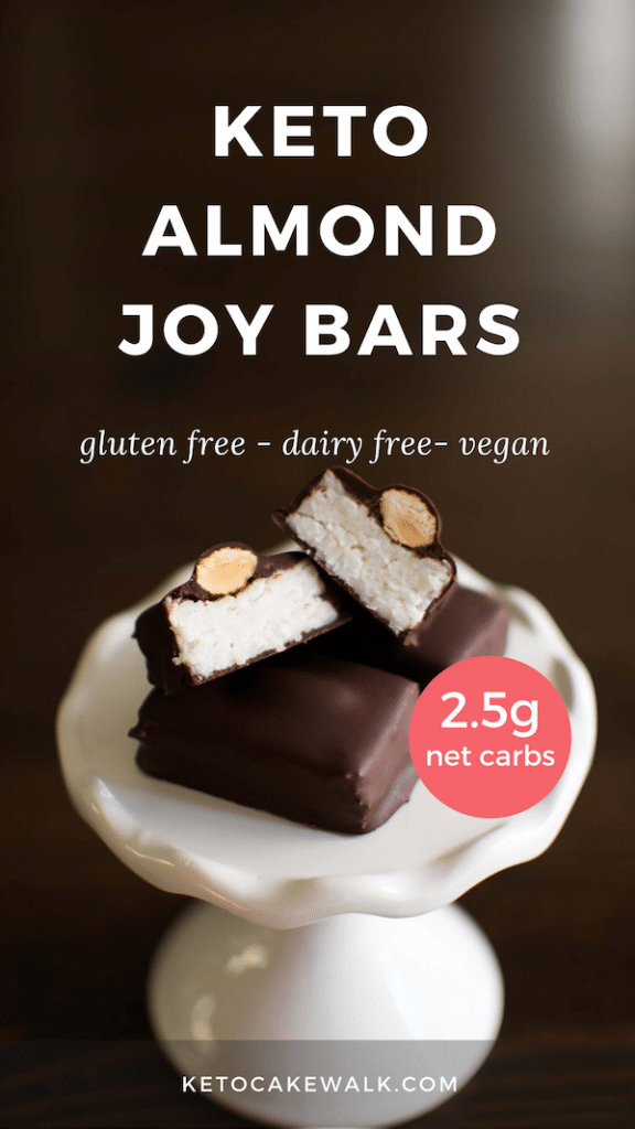 These keto almond joy bars are so easy to make and are only 2.5 net carbs apiece! Plus they're completely dairy free! #keto #lowcarb #glutenfree #dairyfree #vegan #grainfree #chocolate #almond #coconut #almondjoy