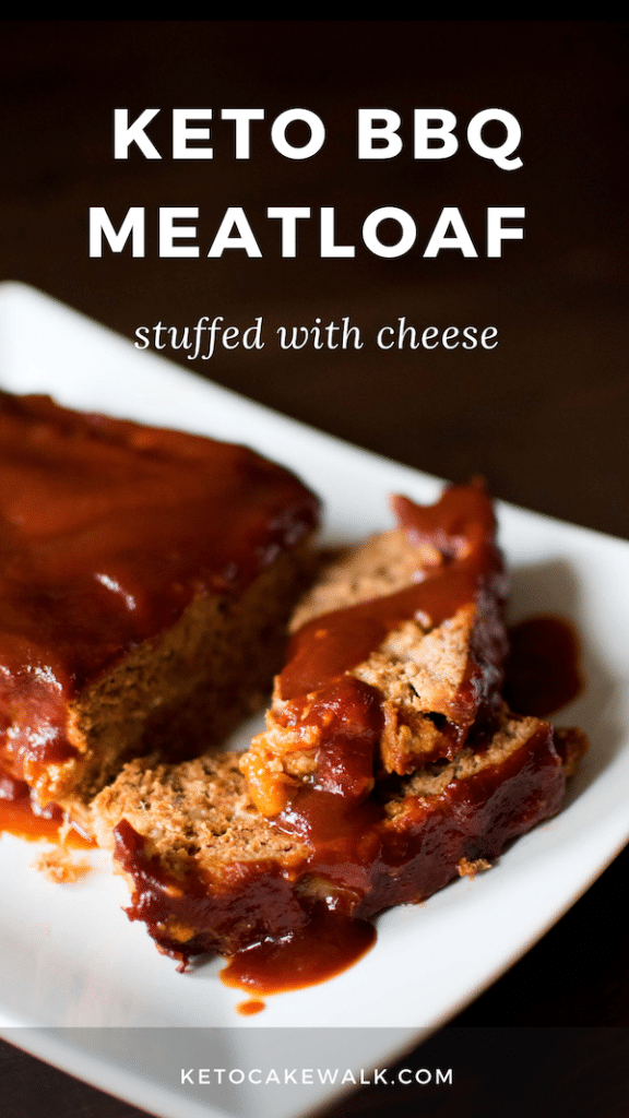 This low carb BBQ meatloaf is stuffed with cheese and smothered with a sweet and tangy BBQ sauce. #keto #glutenfree #grainfree #lowcarb #dinner #meatloaf #easy