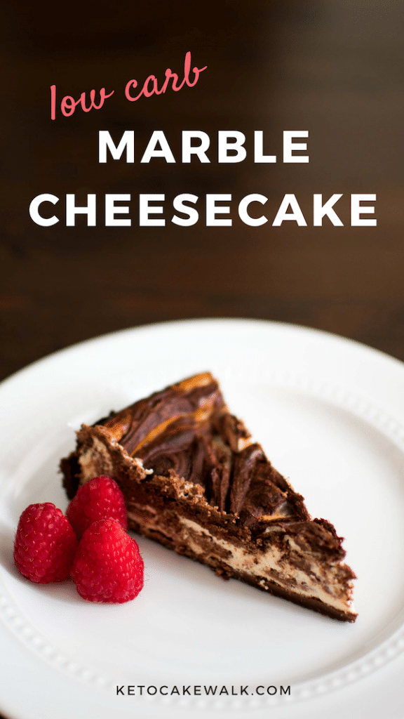 Keto marble cheesecake is the decadent chocolate dessert you're looking for, without all the carbs! #keto #lowcarb #chocolate #cheesecake #glutenfree #grainfree #sugarfree