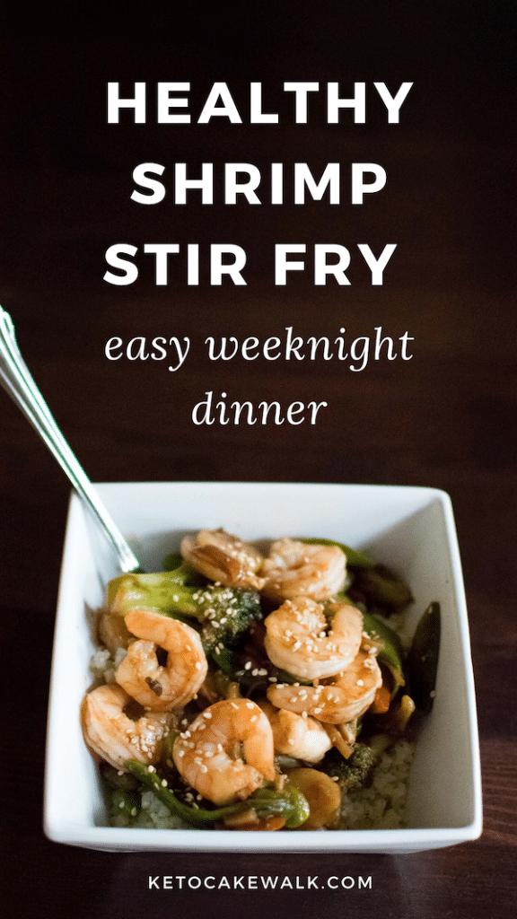 Make this healthy low carb shrimp stir fry in half an hour for a quick and easy weeknight meal that will keep you on plan! #healthy #lowcarb #keto #dinner #shrimp #stirfry