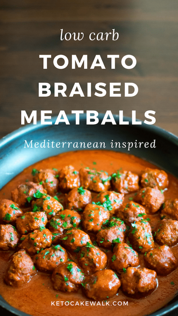 These low carb tomato braised meatballs have a blend of  Mediterranean-inspired spices that gives them a unique flavor profile that is exotic and comforting. #lowcarb #keto #dinner #meatballs #tomato #cinnamon #glutenfree #grainfree