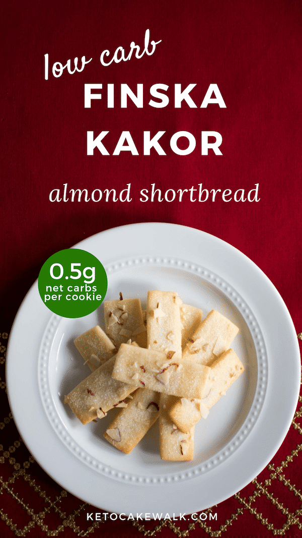 Low Carb Finska Kakor is an almond shortbread cookie perfect for Christmas cookie baking! It's so super easy to make, too! #lowcarb #keto #baking #christmascookies #almond #shortbread #easy #glutenfree #grainfree