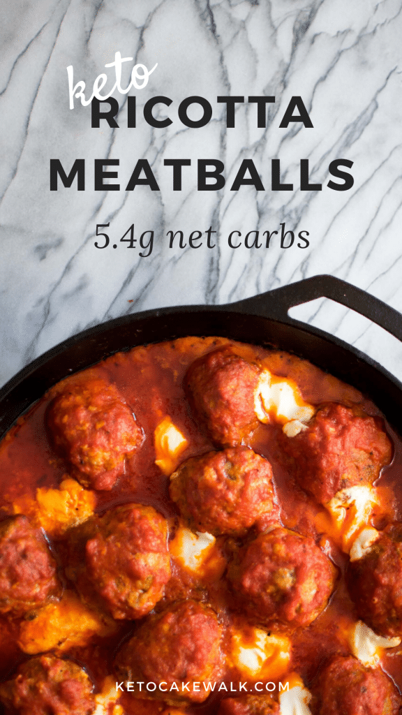 Jumbo Italian meatballs mingle with marinara and pockets of creamy ricotta cheese in these Keto Ricotta Meatballs. Easy weeknight dinner for only 5.4g net carbs per serving. #keto #lowcarb #meatballs #italian #ricotta #easy #dinner #glutenfree #grainfree