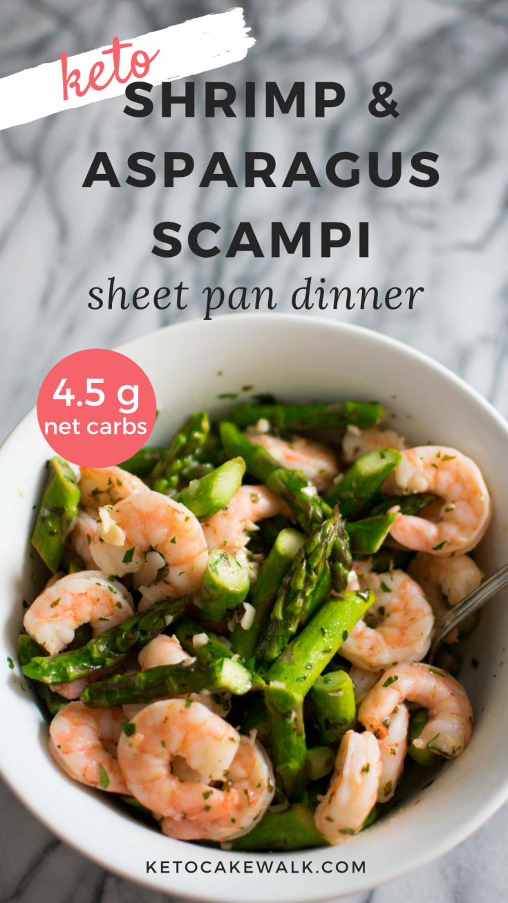 Super easy and quick Shrimp Scampi with Asparagus that cooks in just 5 minutes on a sheet pan! Simple and elegant dinner for celebrations or just a weeknight! #keto #lowcarb #shrimp #asparagus #scampi #sheetpan #dinner #easy #glutenfree #grainfree