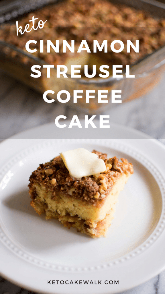 This keto cinnamon streusel coffee cake takes the cake on low carb breakfast options! Less than 4g net carbs per piece and an absolute favorite of the whole family! #lowcarb #keto #coffeecake #cinnamon #streusel #breakfast #brunch #easy #gluten free #grain free #sugarfree