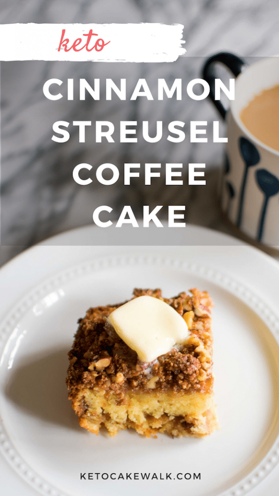 Make breakfast memorable with this keto cinnamon streusel coffee cake -- less than 4g net carbs per piece! #lowcarb #keto #coffeecake #cinnamon #streusel #breakfast #brunch #easy #gluten free #grain free #sugarfree