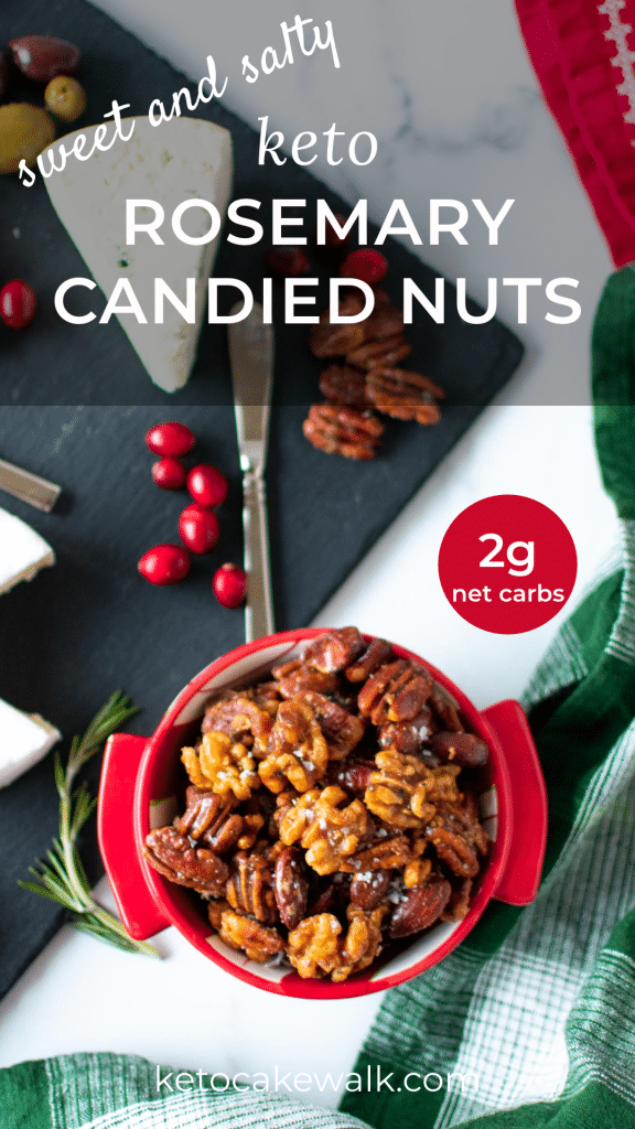 Take your candied nuts to the next level by making these Keto Rosemary Candied Nuts! Sweet and salty and totally sugar free! Perfect for your holiday spread. #keto #lowcarb #nuts #candied #glazed #rosemary #snacks #sweet #salty #glutenfree #grainfree #sugarfree