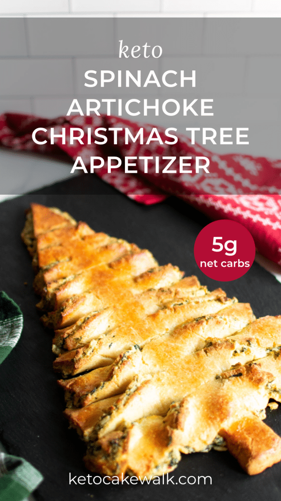 This super fun Keto Spinach Artichoke Christmas Tree Appetizer is a low carb way to enjoy yourself this holiday! Spinach artichoke dip filled breadsticks in the shape of a Christmas tree! And totally gluten-free as well. #keto #lowcarb #spinach #artichoke #holiday #appetizer #festive #christmas #tree #breadsticks #glutenfree #grainfree