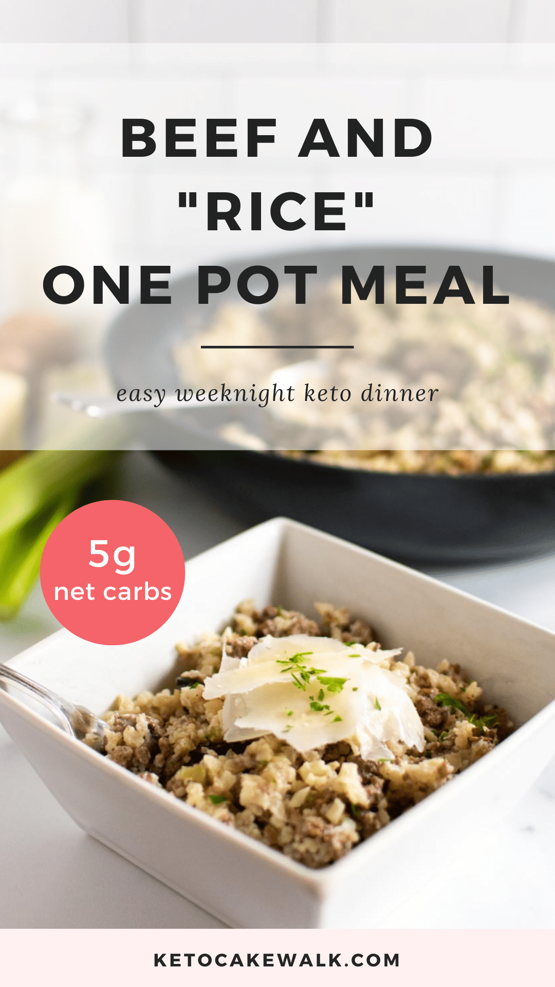 This beef and cauliflower rice skillet is a super easy low carb meal to make on a weeknight. Cooks all in one skillet so you have fewer dishes to clean! #lowcarb #keto #skillet #dinner #onepot #easy #weeknight #simple #glutenfree #grainfree