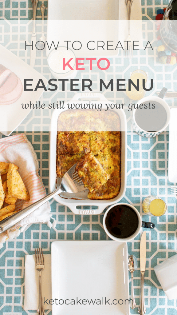 Yes, you can still enjoy holidays while eating keto, without compromising your health! Super easy swaps create a full, delicious, and decadent keto Easter menu! #keto #lowcarb #easter #holidays #menu #mealplan #ham #lamb #desserts #brunch #sides #candy