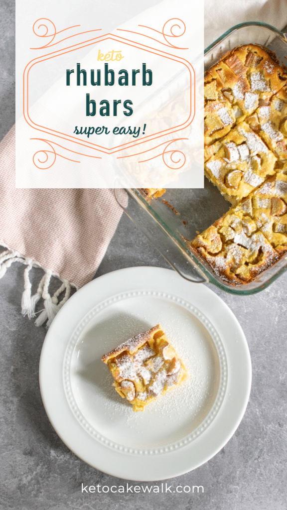A family favorite turned low carb! These keto rhubarb bars are a perfect balance between sweet and tart and showcase rhubarb beautifully. A perfect springtime dessert that everyone will love. And only 2.7g net carbs per piece! #keto #lowcarb #rhubarb #bars #dessert #treats #spring #glutenfree #grainfree #sugarfree